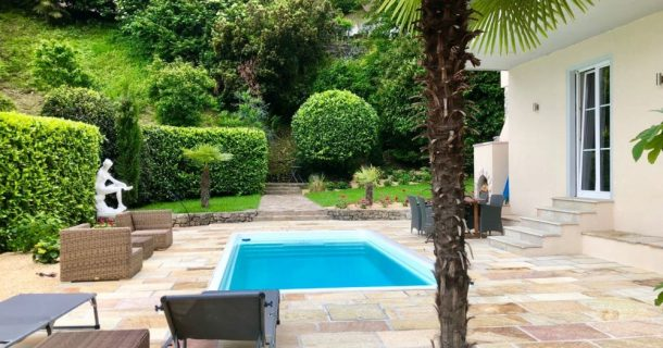 Pool mit Gegenstromanlage und Natursteinterrasse